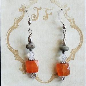 🌹Handcrafted Carnelian Afri Turquoise SS Earrings